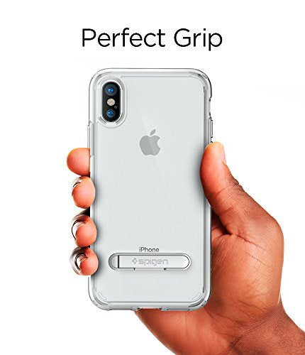 sports shoes a93d8 a0ffa Spigen Ultra Hybrid S iPhone X Case with Air Cushion Technology and  Magnetic Metal Kickstand for Apple iPhone X (2017) - Crystal Clear