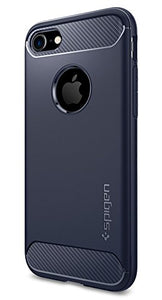 Spigen Rugged Armor iPhone 8 Case / iPhone 7 Case with Resilient Shock Absorption and Carbon Fiber Design for Apple iPhone 8 (2017) / iPhone 7 (2016) - Midnight Blue