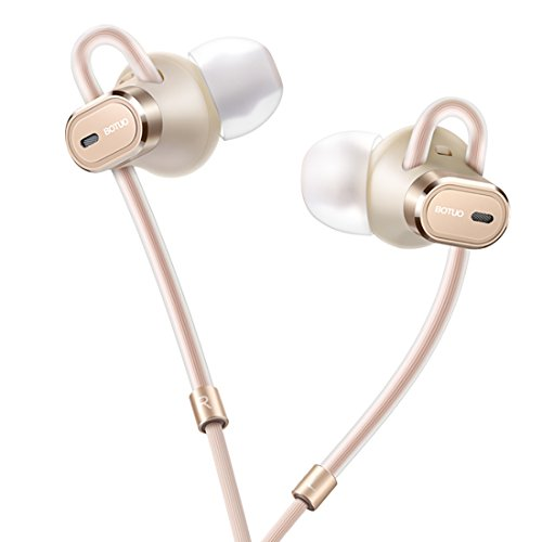 BOTUO Noise Cancelling Earbuds Wired Earphones with Microphone and Remote Stereo Ear Headphones for ios and Adroid Cell Phone Gold