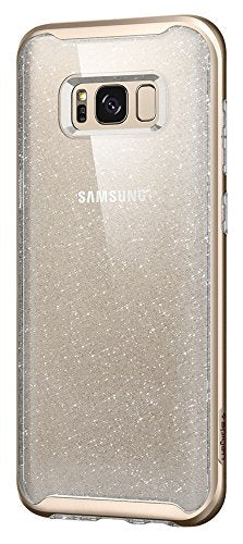 Spigen Neo Hybrid Crystal Galaxy S8 Case with Flexible Inner Casing and Reinforced Hard Bumper Frame for Samsung Galaxy S8 2017 - Glitter Gold Quartz