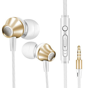Wired Earbud In Ear Headphones with Microphone - vastland Extra Bass Stereo Earphone for Men and Women, Noise Isolating Corded Headset for iPhone Samsung Galaxy S8 S7 S6 etc.(V5 White & Golden)