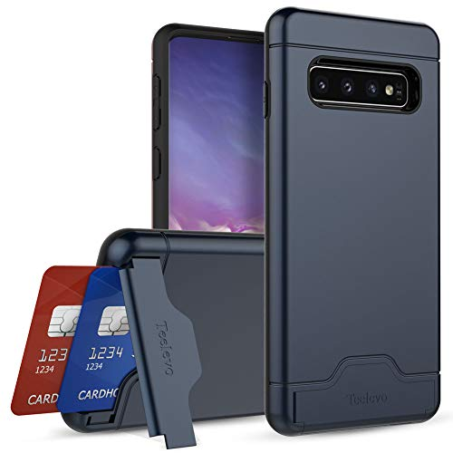 Teelevo Wallet Case for Galaxy S10 - Dual Layer Case with Card Slot Holder and Kickstand for Samsung Galaxy S10 (2019) - Navy Blue