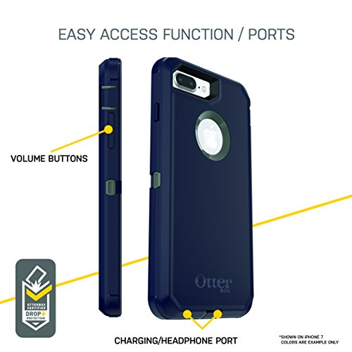factory price d59ec 69f73 OtterBox DEFENDER SERIES Case for iPhone 8 Plus & iPhone 7 Plus (ONLY) -  Retail Packaging - BESPOKE WAY (BLAZER BLUE/STORMY SEAS BLUE)
