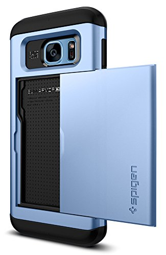 Spigen Slim Armor CS Galaxy S7 Edge Case with Slim Dual Layer Wallet Design and Card Slot Holder for Galaxy S7 Edge - Blue Coral