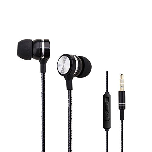 Woozik A960 Metal In-Ear Wired Headphones - with Microphone & In-Line  Volume Control Music Stereo Earbuds Headset (Black)
