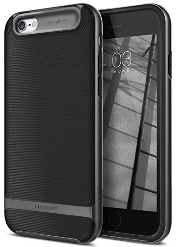 iPhone 6 Plus Case, Caseology [Wavelength Series] Textured Pattern Grip Cover [Black / Black] [Shock Proof] for Apple iPhone 6 Plus and iPhone 6S Plus - Black / Black