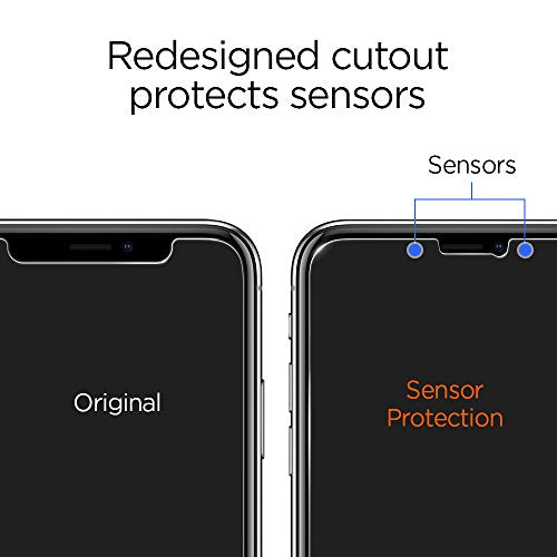 purchase cheap c00ef 1ff22 Spigen iPhone X Screen Protector [ Tempered Glass x 2 ] [ Sensor Protection  ] for Apple iPhone X (2017)