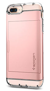 Spigen Crystal Wallet iPhone 7 Plus / iPhone 8 Plus Case with Slim Dual Layer Wallet Design and Card Slot Holder for Apple iPhone 7 Plus (2016) / iPhone 8 Plus (2017) - Rose Gold