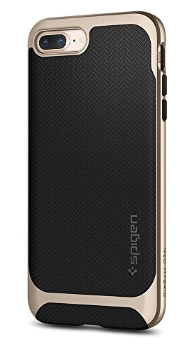 Spigen Neo Hybrid Herringbone iPhone 8 Plus Case / iPhone 7 Plus Case with Hard Bumper Frame for Apple iPhone 8 Plus (2017) / Apple iPhone 7 Plus (2016) - Champagne Gold
