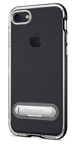 Spigen Crystal Hybrid iPhone 7 / iPhone 8 Case with Water-Mark Clear Case and Magnetic Metal Kickstand for Apple iPhone 7 (2016) / iPhone 8 (2017) - Black