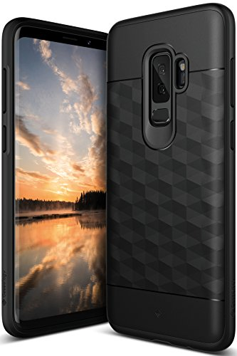 Galaxy S9 Plus Case, Caseology [Parallax Series] Slim Protective Dual Layer Textured Cover Secure Grip Geometric Design for Samsung Galaxy S9 Plus (2018) - Black/Black