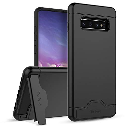 quality design 02787 24ced Teelevo Wallet Case for Galaxy S10 Plus - Dual Layer Case with Card Slot  Holder and Kickstand for Samsung Galaxy S10 Plus (2019) - Black
