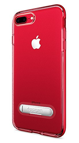 Spigen Crystal Hybrid iPhone 7 Plus / iPhone 8 Plus Case with Water-Mark Clear Case and Magnetic Metal Kickstand for Apple iPhone 7 Plus (2016) / iPhone 8 Plus (2017) - Dante Red