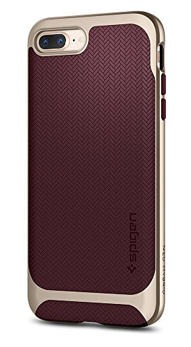Spigen Neo Hybrid Herringbone iPhone 8 Plus Case / iPhone 7 Plus Case with Hard Bumper Frame for Apple iPhone 8 Plus (2017) / Apple iPhone 7 Plus (2016) - Burgundy