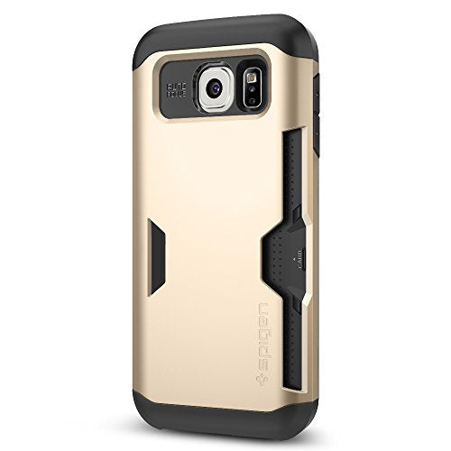 Spigen Slim Armor CS Galaxy S6 Case with Slim Dual Layer Wallet Design and Card Slot Holder for Galaxy S6 2015 - Champagne Gold