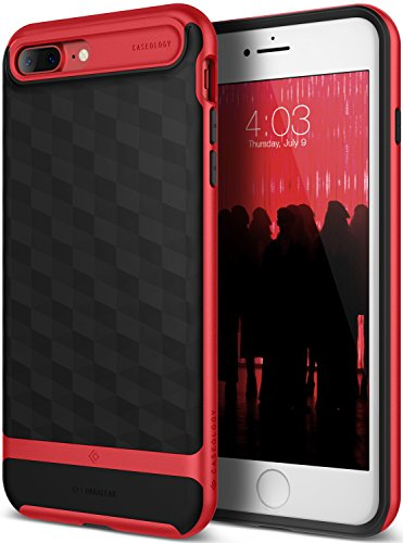 iPhone 7 Plus Case / iPhone 8 Plus Case, Caseology [Parallax Series] Slim Protective Textured Geometric Cover Drop Protection for Apple iPhone 7 Plus (2016) / iPhone 8 Plus (2017) - Black / Red
