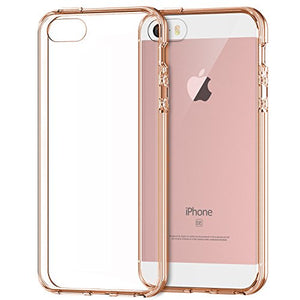 iPhone SE Case, JETech Apple iPhone SE/5S/5 Case Bumper Cover Shock-Absorption Bumper and Anti-Scratch Clear Back for iPhone 5 5S SE (Rose Gold) - 0427