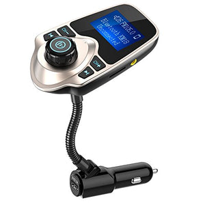 Nulaxy Wireless In-Car Bluetooth FM Transmitter Radio Adapter Car Kit with 1.44 Inch Display and USB Car Charger - Golden