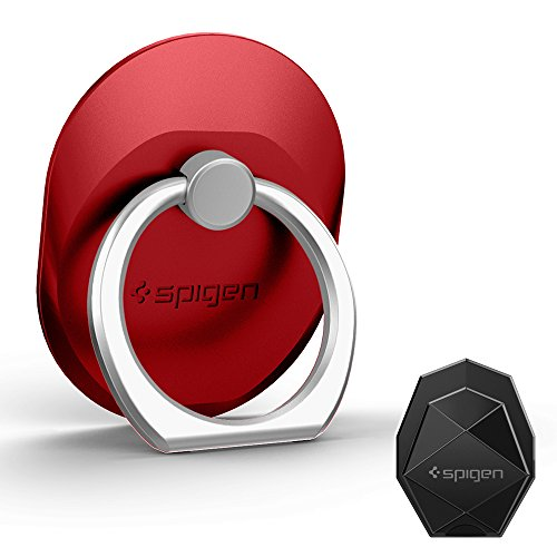 Spigen Style Ring Phone Grip Car Mount/Stand/Holder/Kickstand ForiPhone X / 8 / 8 plus / 7 / 7 Plus / 6S / 6S Plus / Galaxy Note 8 / S8 / S8 Plus / S7 Edge & More and Almost All Cases/Phones - Red