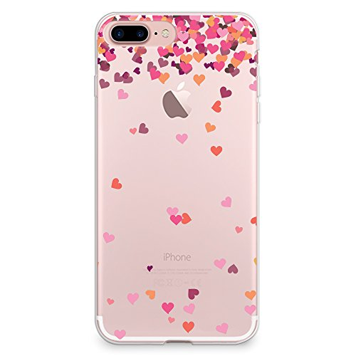 pretty nice 6b173 3ba0c iPhone 8 Plus Case, iPhone 7 Plus Case, CasesByLorraine Little Pink Hearts  Clear Transparent Case Flexible TPU Soft Gel Protective Cover for Apple ...
