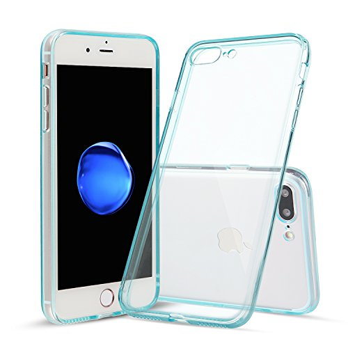 iPhone 7 Plus Case, Shamo's [Crystal Clear] Case [Shock Absorption] Cover TPU Rubber Gel [Anti Scratch] Transparent Clear Back, Soft Silicone, Screen Raised Lip Protection, Impact Resistant, (Blue)