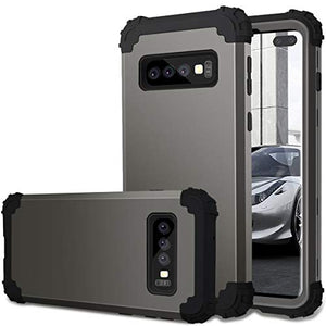Samsung S10 Plus Case, Galaxy S10 Plus Case, Fingic 3 in 1 Shockproof Heavy Duty Hard PC Silicone Rubber Bumper Full Body Protective with Dual Layer Case Cover for Samsung Galaxy S10 Plus, Gun Metal