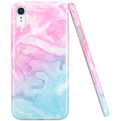 JAHOLAN Compatible iPhone XR Case Pink Blue Marble Design Clear Bumper Glossy TPU Soft Rubber Silicone Cover Phone Case for iPhone XR 2018 6.1 inch