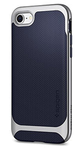 Spigen Neo Hybrid Herringbone iPhone 8 Case / iPhone 7 Case with Flexible Inner Protection and Reinforced Hard Bumper Frame for Apple iPhone 8 (2017) / iPhone 7 (2016) - Satin Silver