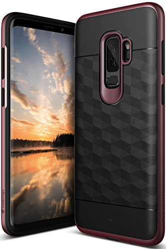 Galaxy S9 Plus Case, Caseology [Parallax Series] Slim Protective Dual Layer Textured Cover Secure Grip Geometric Design for Samsung Galaxy S9 Plus (2018) - Black/Burgundy