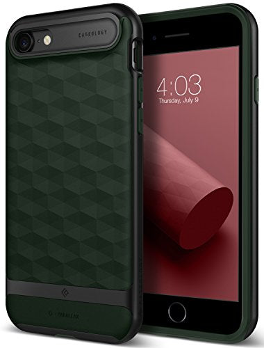 iPhone 8 Case / iPhone 7 Case Caseology [Parallax Series] Slim Protective Dual Layer Textured Cover Secure Grip Geometric Design for Apple iPhone 8 (2017) / iPhone 7 (2016) - Pine Green