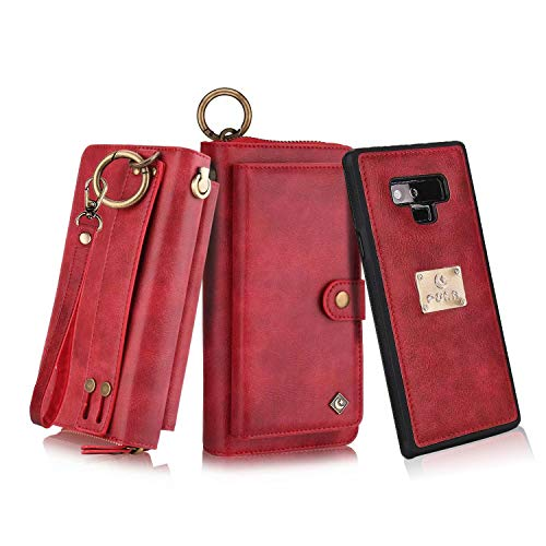 Petocase Compatible Wallet Case for Note 9, Multi-Function Zipper Purse with Detachable Magnetic Back Cover Wristlets 13 Card Slots & 4 Cash Pocket for Samsung Galaxy Note 9 Red
