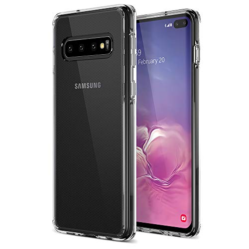 Trianium Clarium Case Designed for Galaxy S10 Plus Case - Clear TPU Cushion/Hybrid Rigid Back Plate/PowerShare Compatible/Reinforced Corner Protection Cover for Samsung Galaxy S10+/ S10Plus Phone 2019