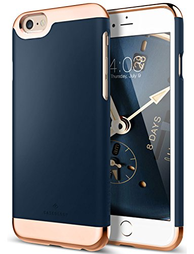 iPhone 6 Plus Case, Caseology [Savoy Series] Chrome / Microfiber Slider Case [Navy Blue] [Premium Rose Gold] for Apple iPhone 6 Plus (2014) - Navy Blue