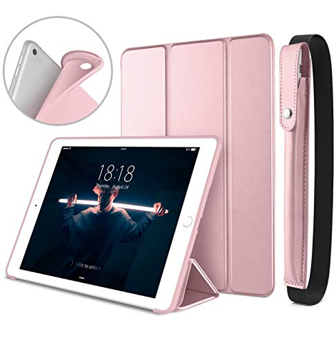 DTTO New iPad 9.7 Inch 2018/2017 Case with Apple Pencil Holder, Ultra Slim Smart Case with Trifold Stand and Soft TPU Back Cover for Apple iPad 5th / 6th Generation [Auto Sleep/Wake] - Rose Gold
