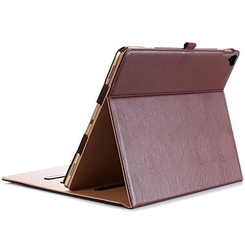 Apple iPad Pro 12.9 Case - ProCase Leather Stand Folio Case Cover for iPad Pro 12.9 Inch (Both 2017 and 2015 Models), with Multiple Viewing Angles, Auto Sleep/Wake, Apple Pencil Holder -Brown