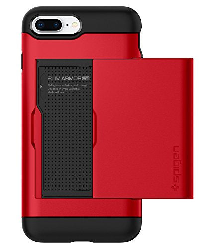 Spigen Slim Armor CS iPhone 8 Plus Case / iPhone 7 Plus Case with Slim Dual Layer Wallet Design and Card Slot Holder for Apple iPhone 8 Plus 2017 / iPhone 7 Plus 2016 - Red