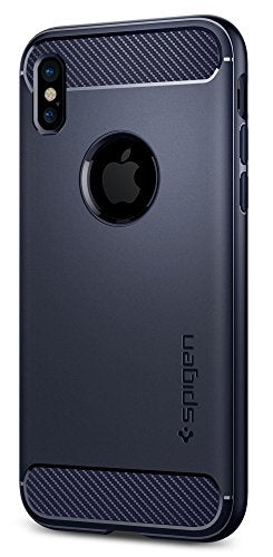 Spigen Rugged Armor iPhone X Case with Resilient Shock Absorption and Carbon Fiber Design for Apple iPhone X (2017) - Midnight Blue