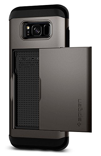 Spigen Slim Armor CS Galaxy S8 Plus Case with Slim Dual Layer Wallet Design and Card Slot Holder for Galaxy S8 Plus (2017) - Gunmetal
