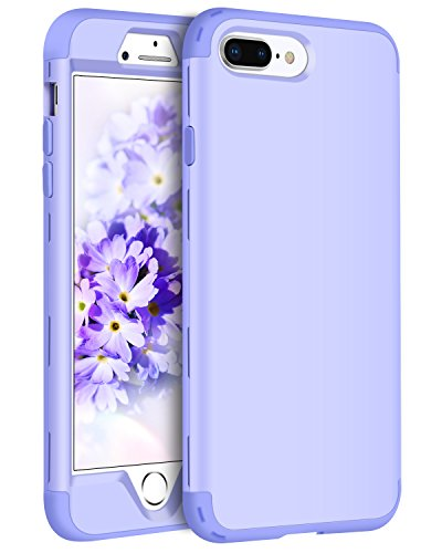 iPhone 8 Plus Case, iPhone 7 Plus Case, BENTOBEN 3 in 1 Shockproof Heavy Duty Rugged Hybrid PC Soft Silicone Rubber Protective Phone Cases Cover for Girls Women iPhone 8 Plus/iPhone 7 Plus Purple