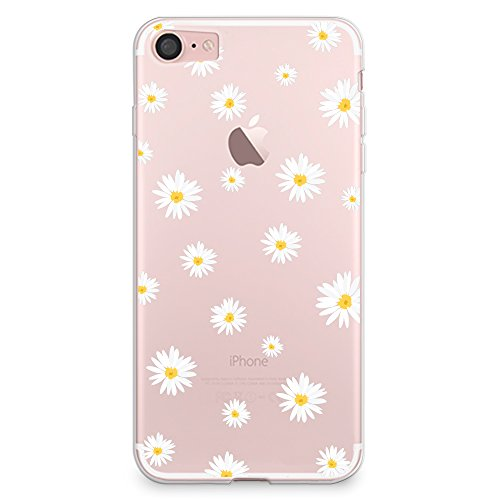 iPhone 8 Case, iPhone 7 Case, CasesByLorraine Cute Daisy Floral Flowers Clear Transparent Case Flexible TPU Soft Gel Protective Cover for Apple iPhone 7 & iPhone 8 (P37)