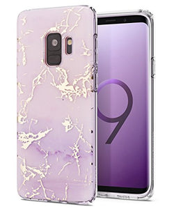 Galaxy S9 Case,Samsung Galaxy S9 Case,Spevert Marble Pattern Hybrid Hard Back Soft TPU Raised Edge Ultra-Thin Shock Absorption Slim Protective Cover Case for Samsung Galaxy S9 2018 - Purple