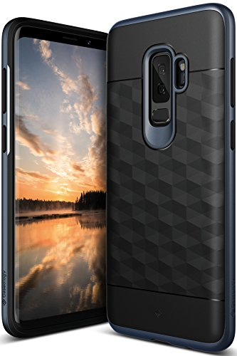 Galaxy S9 Plus Case, Caseology [Parallax Series] Slim Protective Dual Layer Textured Cover Secure Grip Geometric Design for Samsung Galaxy S9 Plus (2018) - Black/Deep Blue