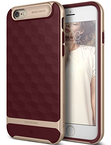 iPhone 6S Case, Caseology [Parallax Series] Slim Dual Layer Textured Geometric Corner Cushion Design [Burgundy] for Apple iPhone 6S (2015) & iPhone 6 (2014)