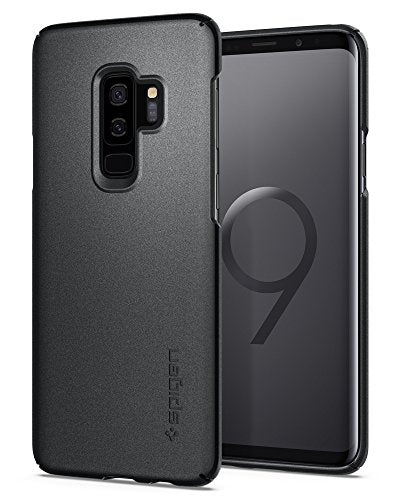 Spigen Thin Fit Galaxy S9 Plus Case with Light but Durable Slim Profile with QNMP Metal Plate Slot for Samsung Galaxy S9 Plus (2018) - Graphite Gray