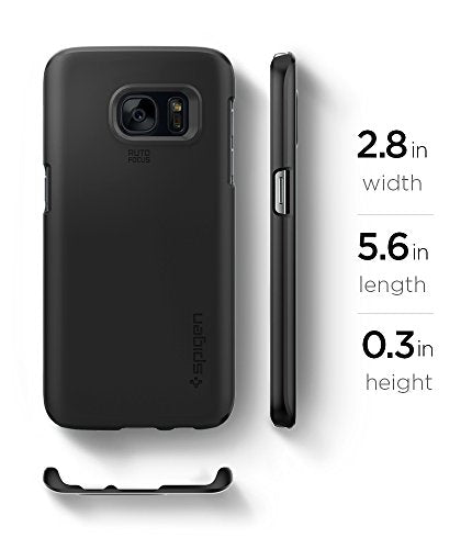 arrives 829fd c08cd Spigen Thin Fit Galaxy S7 Case with SF Coated Non Slip Matte Surface for  Excellent Grip for Samsung Galaxy S7 2016 - Black