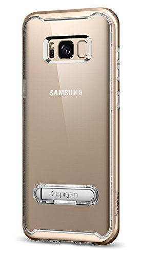 Spigen Crystal Hybrid Galaxy S8 Case with Water-Mark PC and Magnetic Metal Kickstand for Galaxy S8 (2017) - Maple Gold