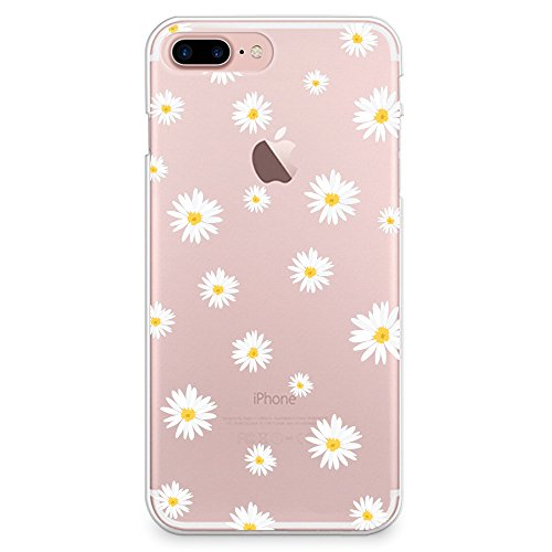 iPhone 8 Plus Case, iPhone 7 Plus Case, CasesByLorraine Cute Daisy Floral Flowers Clear Transparent Case Slim Hard Plastic Back Cover for Apple iPhone 7 Plus & iPhone 8 Plus (P37)