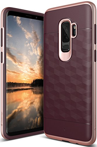 Galaxy S9 Plus Case, Caseology [Parallax Series] Slim Protective Dual Layer Textured Cover Secure Grip Geometric Design for Samsung Galaxy S9 Plus (2018) - Burgundy/Rose Gold
