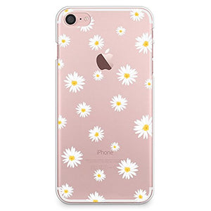 huge discount 4fcab dd3bd iPhone 8 Case, iPhone 7 Case, CasesByLorraine Cute Daisy Floral Flowers  Clear Transparent Case Slim Hard Plastic Back Cover for Apple iPhone 7 & ...