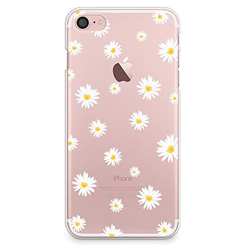 iPhone 8 Case, iPhone 7 Case, CasesByLorraine Cute Daisy Floral Flowers Clear Transparent Case Slim Hard Plastic Back Cover for Apple iPhone 7 & iPhone 8 (P37)